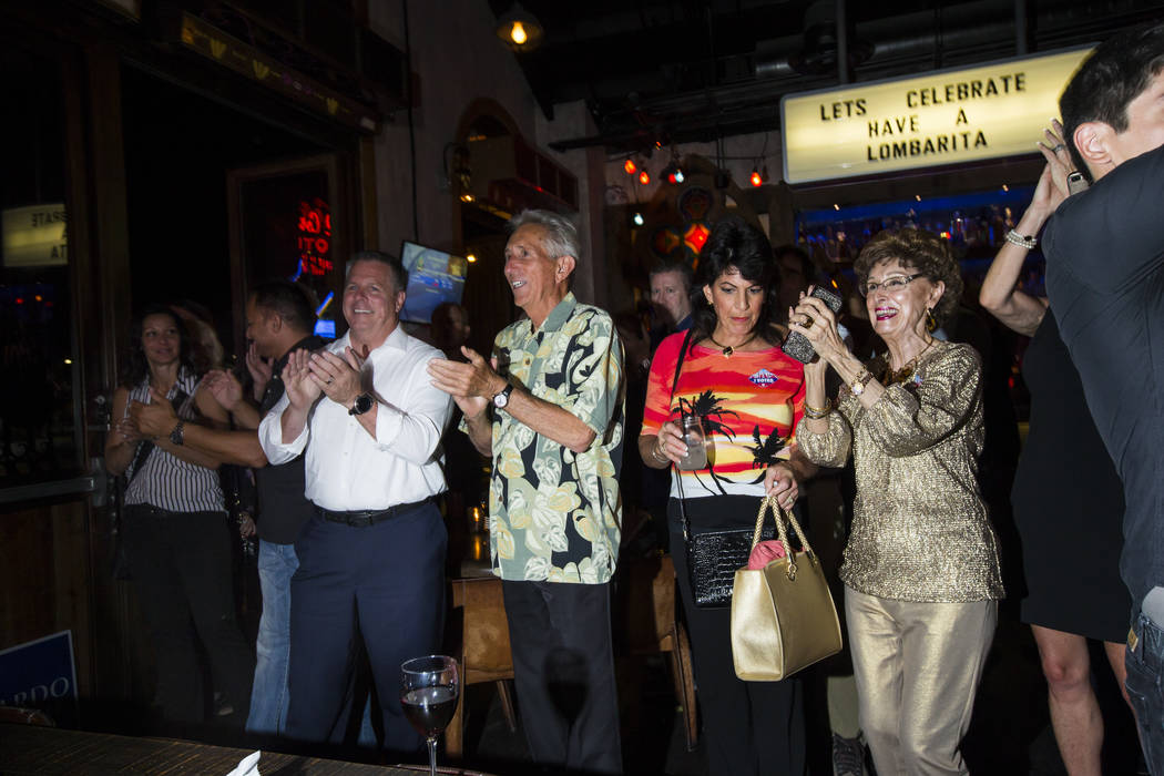 Supporters react as Clark County Sheriff Joe Lombardo, not pictured, gives his victory speech during his election night watch party at La Comida in downtown Las Vegas on Tuesday, June 12, 2018. Ch ...