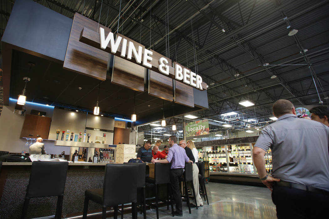 A wine and beer bar is one of the many amenities at the new 125,000-square-foot Smith's Marketplace on Skye Canyon Road as seen on Tuesday, June 12, 2018 the day before it's grand op ...