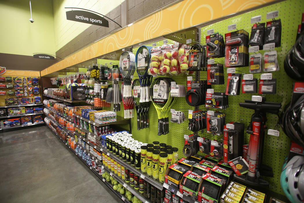 Sporting goods are one of the wide range of products available at the new 125,000-square-foot Smith's Marketplace on Skye Canyon Road on Tuesday, June 12, 2018 the day before it's gr ...