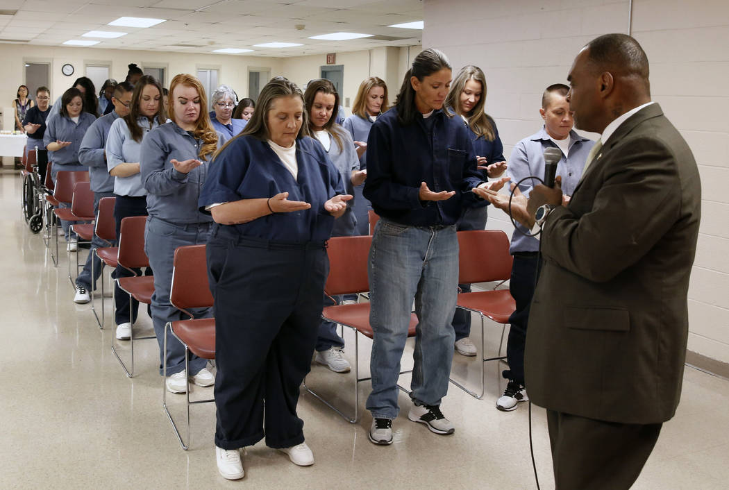 Jon Ponder, CEO of Hope for Prisoners, speaks during a graduation ceremony for 25 female inmates on Wednesday, June 13, 2018, in Las Vegas. The College of Southern Nevada educated of the inmates, ...