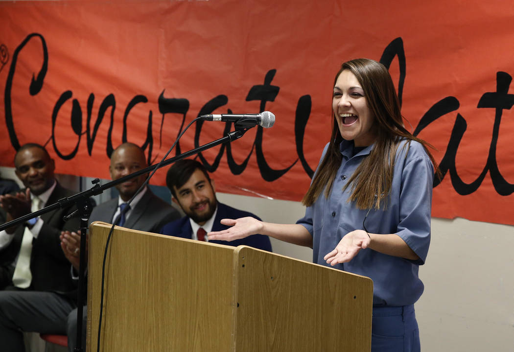 Natasha Barker, inmate at the Florence McClure Women's Correctional Center, speaks during a graduation ceremony for 25 female inmates on Wednesday, June 13, 2018, in Las Vegas. The College of Sout ...