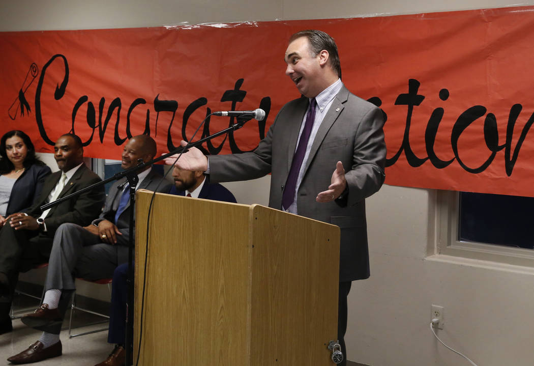 James McCoy, associate vice president academic affair at College of Southern Nevada, speaks during a graduation ceremony for 25 female inmates at the Florence McClure Women's Correctional Center o ...