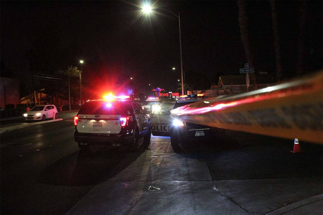 Las Vegas police are searching for a man who is suspected of shooting and killing his father Tuesday night on the 3800 block of San Angelo Avenue. (Max Michor/Las Vegas Review-Journal)