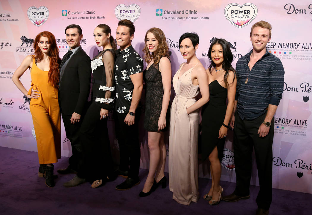 "The cast of ""Baz"" poses on the purple carpet at the 22nd annual Power of Love gala in the MGM Grand Garden Arena in Las Vegas Saturday, April 28, 2018. (K.M. Cannon Las Vegas Review-Journal)"