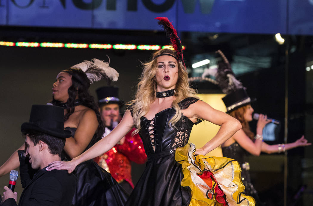 "The cast of ""Baz"" performs during a celebration of tourism hosted by the Las Vegas Convention and Visitors Authority at the Fashion Show mall in Las Vegas on Tuesday, May 9, 2017. (Las Vegas Revie ..."