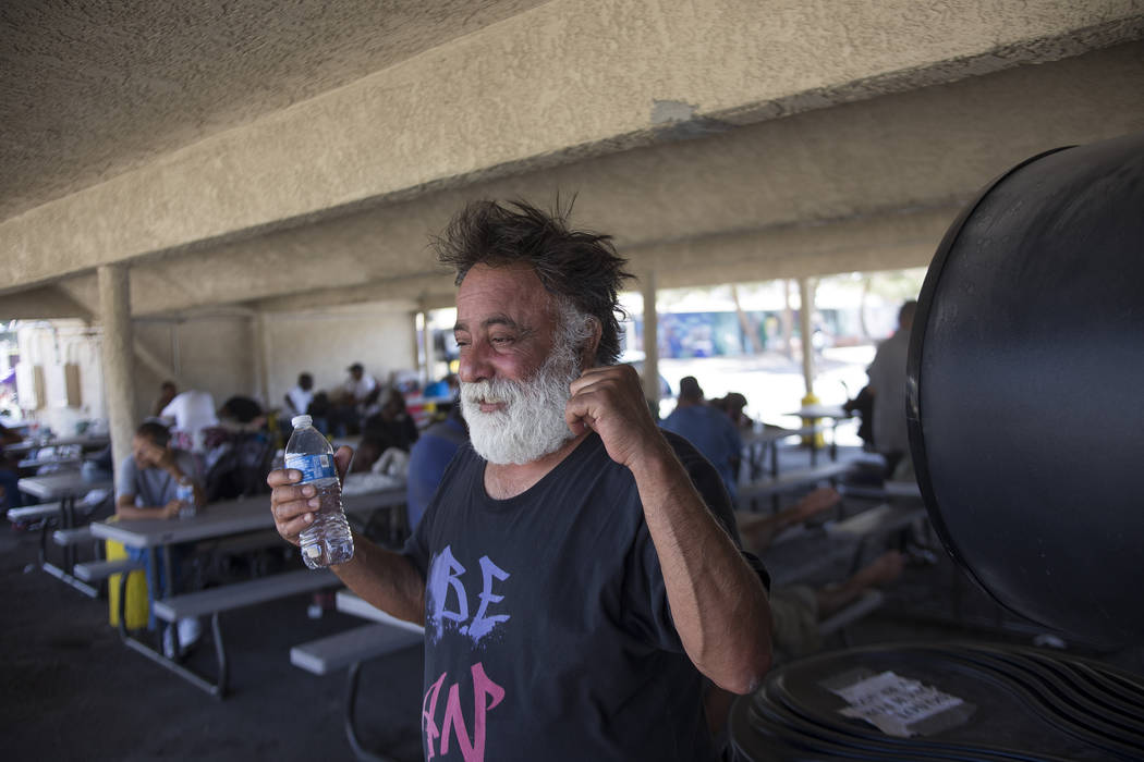 Jamshid Afshar cools down from a giant fan at a cooling station at the Courtyard Homeless Resource Center in Las Vegas, Wednesday, June 13, 2018. Rachel Aston Las Vegas Review-Journal @rookie__rae