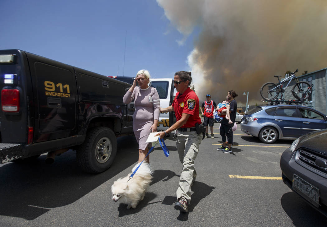 Erin Sirek with the Summit County Sheriff's Department Residents helps direct a resident with a dog as residents evacuate their homes from a wild fire approaching in the Wildernest neighborhood ne ...