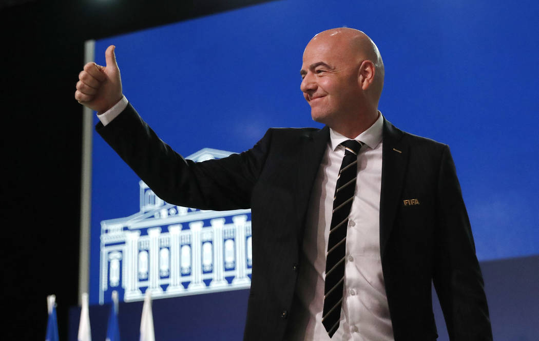 FIFA President Gianni Infantino arrives at the FIFA congress on the eve of the opener of the 2018 soccer World Cup in Moscow, Russia, Wednesday, June 13, 2018. The congress in Moscow is set to cho ...