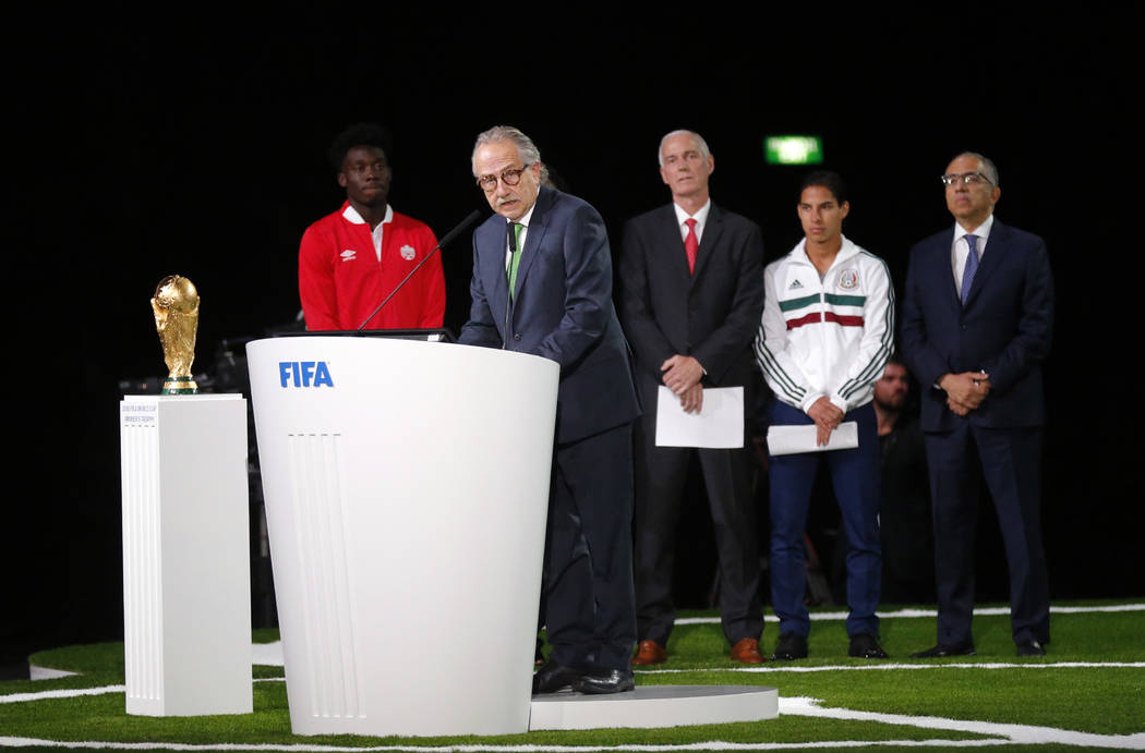 Decio de Maria, President of the Football Association of Mexico, speaks at the FIFA congress on the eve of the opener of the 2018 soccer World Cup in Moscow, Russia, Wednesday, June 13, 2018. The ...