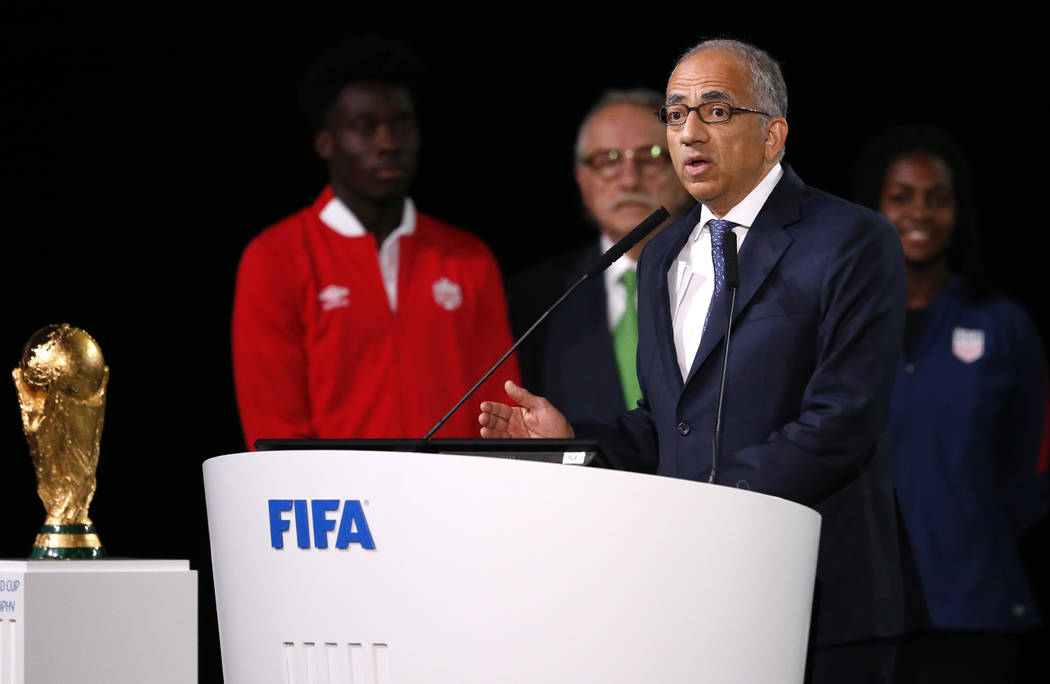 Carlos Cordeiro, the president of the United States Soccer Federation speaks at the FIFA congress on the eve of the opener of the 2018 soccer World Cup in Moscow, Russia, Wednesday, June 13, 2018. ...
