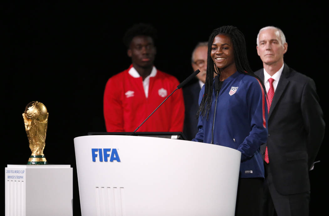 American soccer player Brianna Pinto speaks at the FIFA congress on the eve of the opener of the 2018 soccer World Cup in Moscow, Russia, Wednesday, June 13, 2018. The congress in Moscow is set to ...