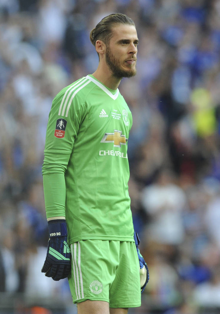 Manchester United's David De Gea during the English FA Cup final soccer match between Chelsea v Manchester United at Wembley stadium in London, England, Saturday, May 19, 2018. (AP Photo/Rui Vieira)