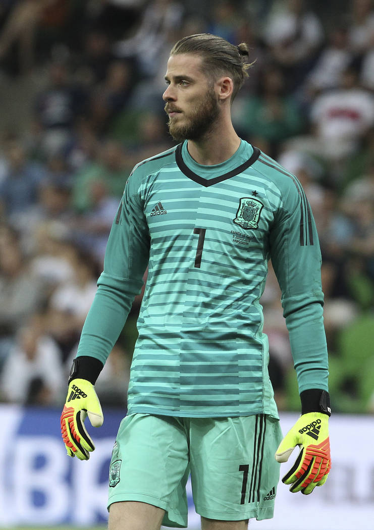 Spain goalkeeper David De Gea is pictured during a friendly soccer match between Spain and Tunisia in Krasnodar, Russia, Saturday, June 9, 2018. (AP Photo)