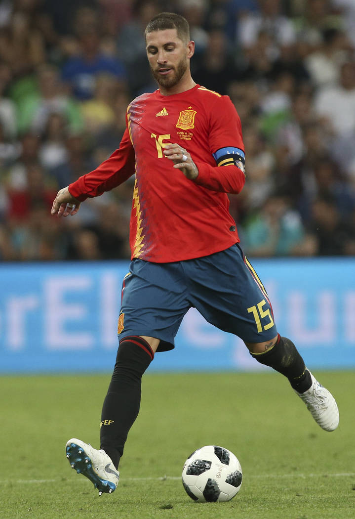 Spain's Sergio Ramos is pictured during a friendly soccer match between Spain and Tunisia in Krasnodar, Russia, Saturday, June 9, 2018. (AP Photo)