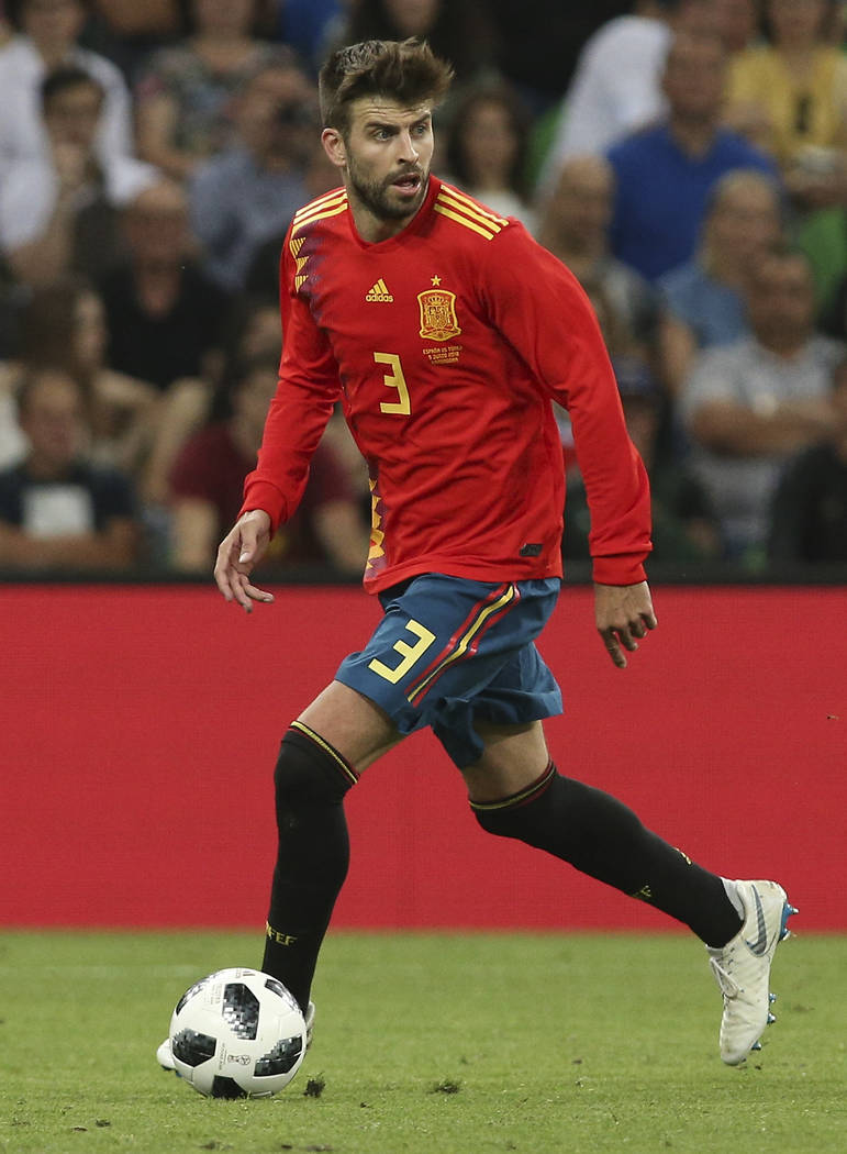 Spain's Gerard Pique is pictured during a friendly soccer match between Spain and Tunisia in Krasnodar, Russia, Saturday, June 9, 2018. (AP Photo)