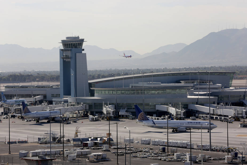 Aircraft continue to arrive and depart during a power outrage at McCarran International Airport's Terminal 1 which did not affect the control tower on Wednesday, June 13, 2018. Michael Quin ...