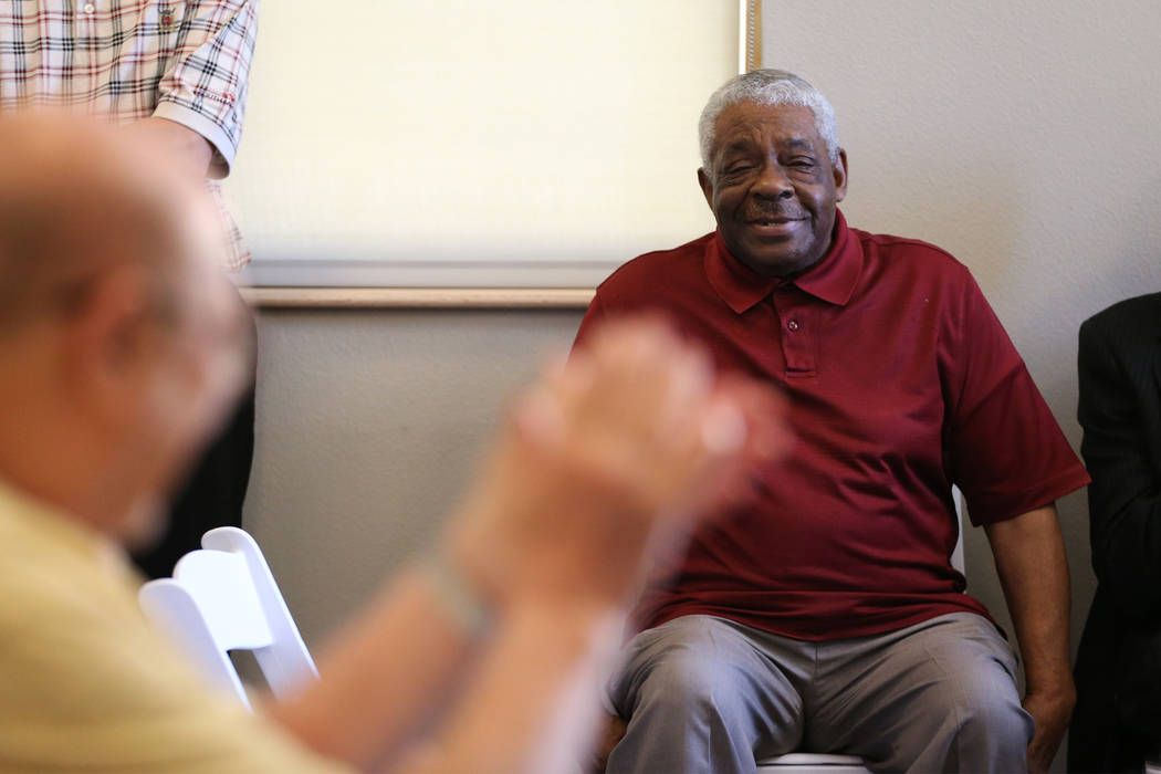 Veteran Otha Brown, resident of the Patriot Place Apartments in Las Vegas, after speaking during a dedication ceremony for the apartment complex, Thursday, June 14, 2018. Erik Verduzco Las Vegas R ...