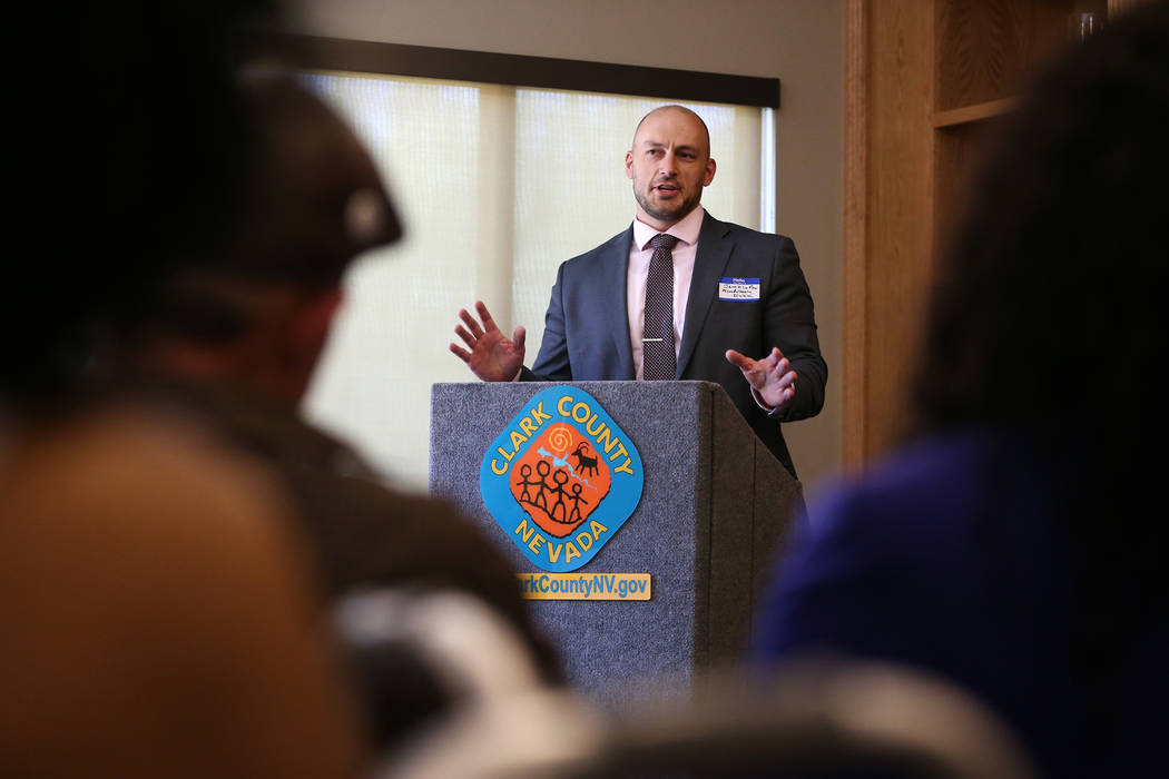 Jake LaRow, deputy administrator for the Nevada Housing Division, during a dedication ceremony of the Patriot Place Apartments in Las Vegas, Thursday, June 14, 2018. Erik Verduzco Las Vegas Review ...