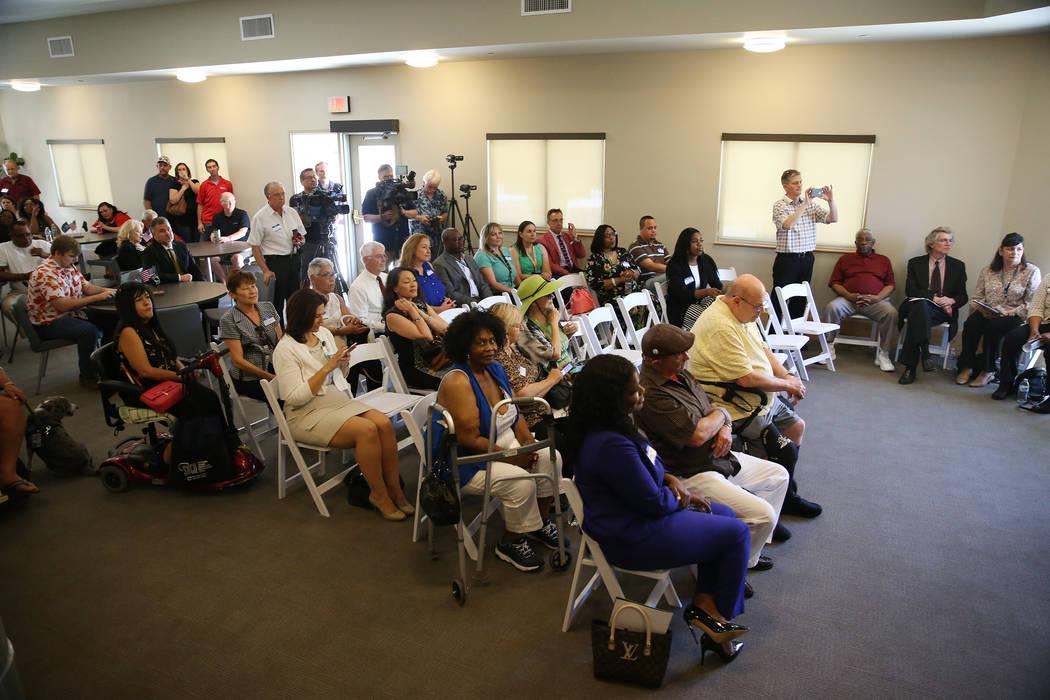 People attend the dedication ceremony of the Patriot Place Apartments in Las Vegas, Thursday, June 14, 2018. Erik Verduzco Las Vegas Review-Journal @Erik_Verduzco