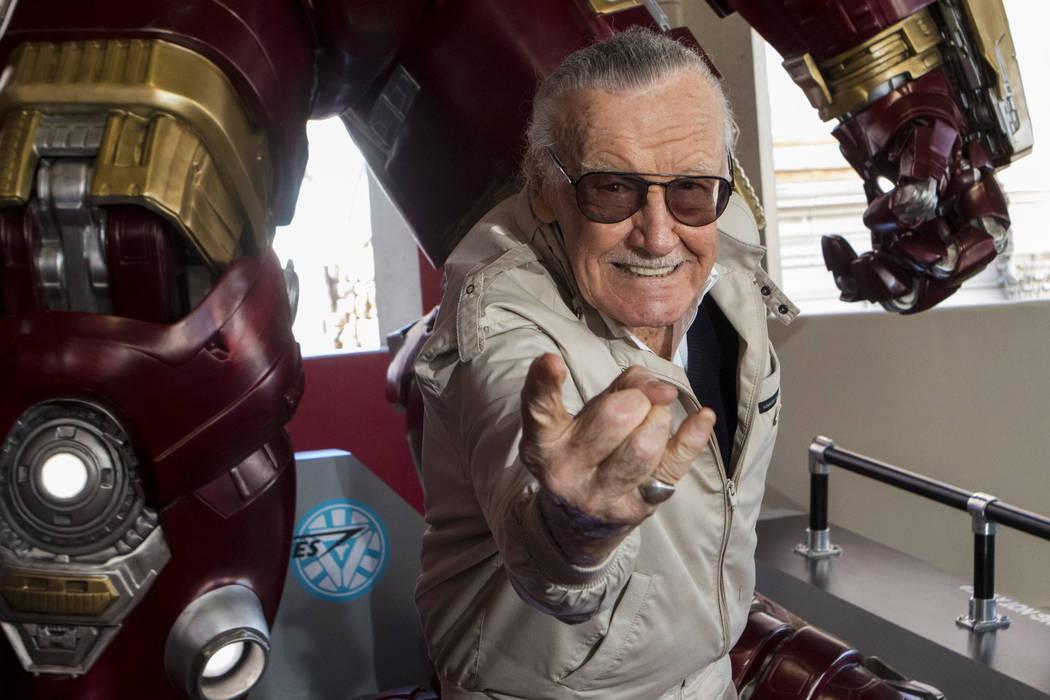 Stan Lee helps unveil the new Hulkbuster Armor at Madame Tussauds Las Vegas at the Venetian hotel-casino in Las Vegas, Tuesday, Feb. 28, 2017. (Miranda Alam/Las Vegas Review-Journal) @miranda_alam