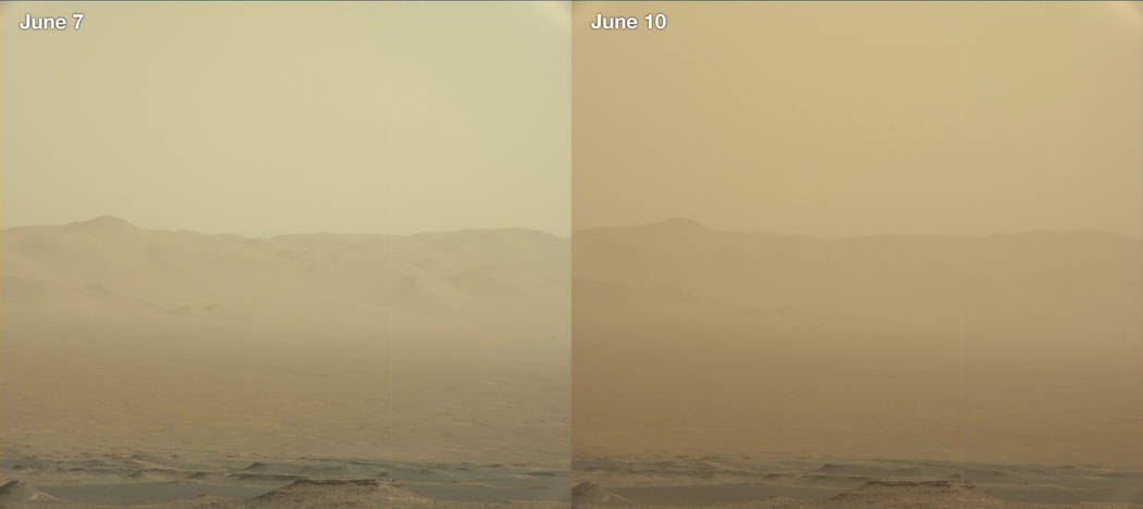 This combination of images made by NASA's Curiosity rover shows the rim of the Gale Crater on June 7 and 10, 2018 during a major dust storm. The Opportunity rover, which is inside the crater, has ...