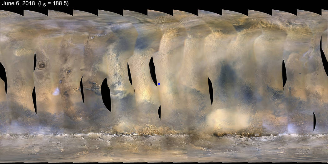 This composite image made from observations by NASA's Mars Reconnaissance Orbiter spacecraft shows a global map of Mars with a growing dust storm as of June 6, 2018. The storm was first detected o ...