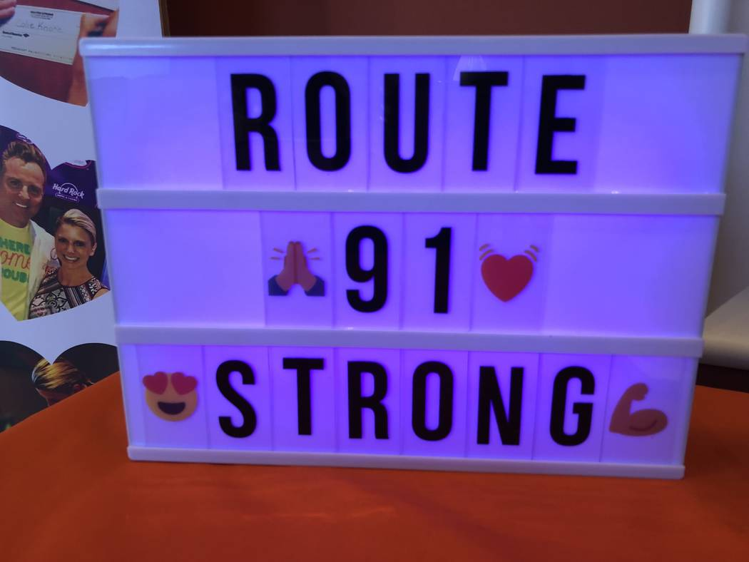A sign advertising Route 91 Strong, a nonprofit supporting survivors of the Oct. 1 shooting and gun violence. The organization has raised close to $300,000 total for survivors of the shooting, and ...