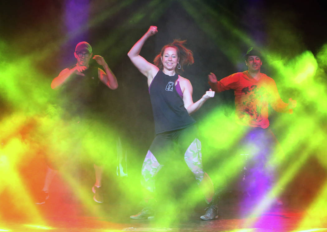 """Paul Johnson, left, Amanda Powell and Nicholas Foote rehearse musical numbers for the annual Ribbon of Life benefit, """"The Show Must Go On"""" at the Foundry, SLS Las Vegas on Friday, June 1 ..."""