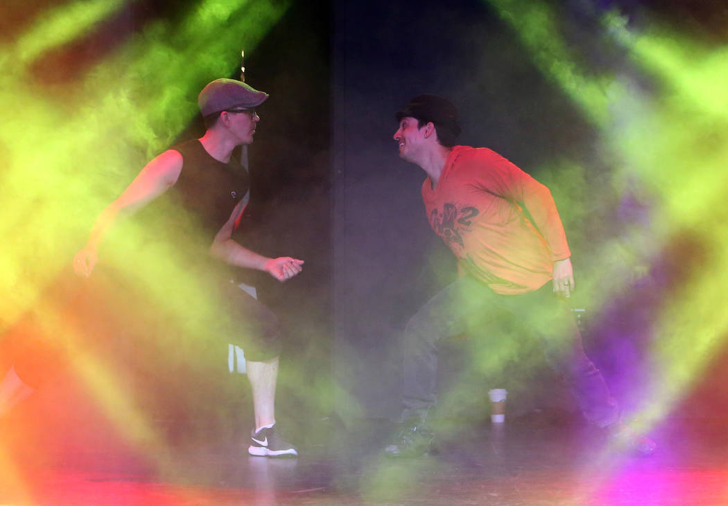 """Paul Johnson, left, and Nicholas Foote rehearse musical numbers for the annual Ribbon of Life benefit, """"The Show Must Go On"""" at the Foundry, SLS Las Vegas on Friday, June 15, 2018. Bizua ..."""