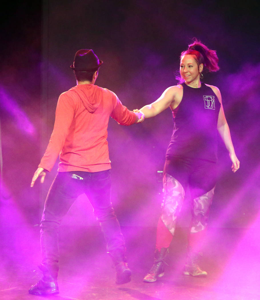 """Nicholas Foote, left, and Amanda Powell rehearse musical numbers for the annual Ribbon of Life benefit, """"The Show Must Go On"""" at the Foundry, SLS Las Vegas on Friday, June 15, 2018. Bizu ..."""