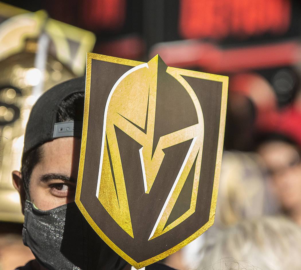 """Vegas fans at the Golden Knights """"Stick Salute to Vegas and Our Fans"""" on Wednesday, June 13, 2018, at the Fremont Street Experience, in Las Vegas. Benjamin Hager Las Vegas Review-Jou ..."""