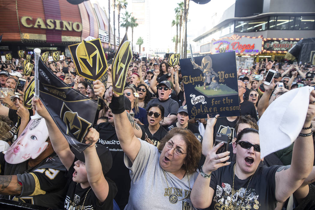 "Vegas fans cheer for their Golden Knights during ""Stick Salute to Vegas and Our Fans"" on Wednesday, June 13, 2018, at the Fremont Street Experience, in Las Vegas. Benjamin Hager Las ..."
