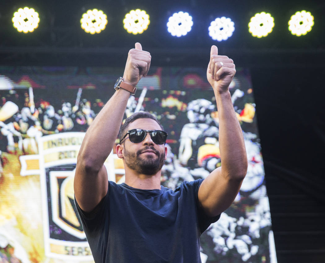 "Golden Knights right wing Pierre-Edouard Bellemare salutes fans during ""Stick Salute to Vegas and Our Fans"" on Wednesday, June 13, 2018, at the Fremont Street Experience, in Las Vega ..."