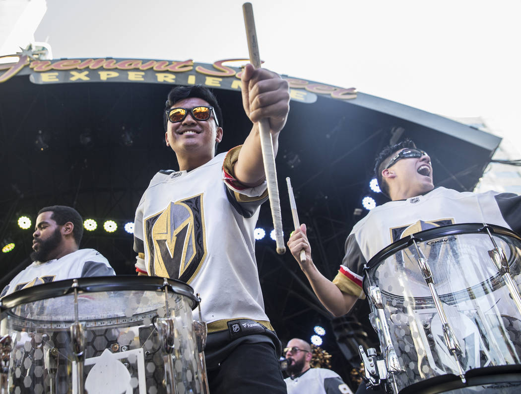"""The Knight Line perform during the Golden Knights """"Stick Salute to Vegas and Our Fans"""" on Wednesday, June 13, 2018, at the Fremont Street Experience, in Las Vegas. Benjamin Hager Las Veg ..."""