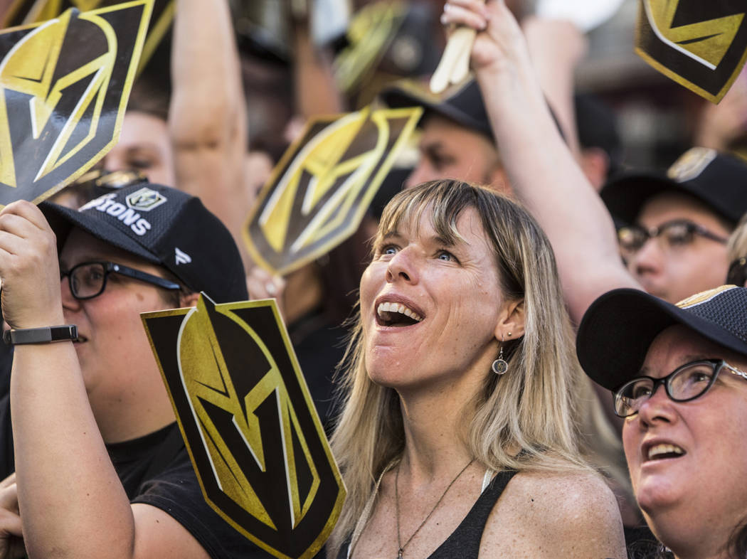 """Vegas fans cheer for their Golden Knights during """"Stick Salute to Vegas and Our Fans"""" on Wednesday, June 13, 2018, at the Fremont Street Experience, in Las Vegas. Benjamin Hager Las ..."""