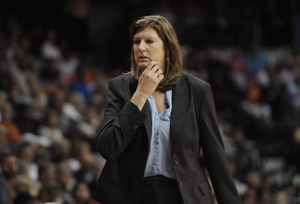 Connecticut Sun coach Anne Donovan watches her players in a WNBA basketball game against the Seattle Storm in Uncasville, Conn., in 2015. (AP Photo/Jessica Hill, File)