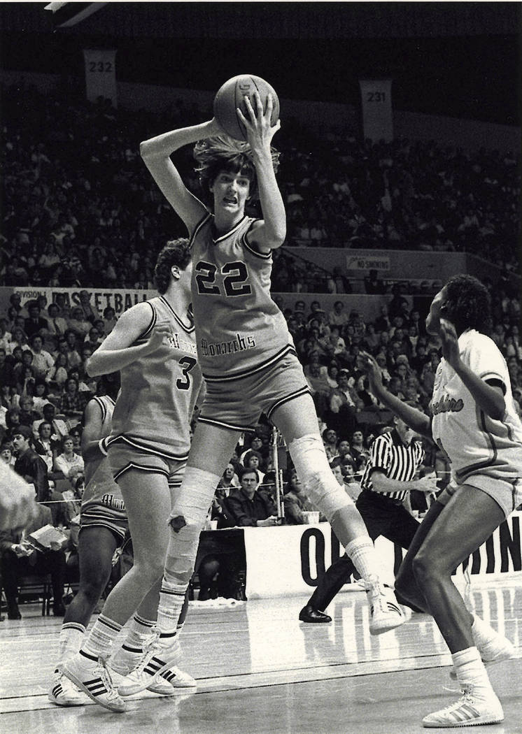 Old Dominion's Anne Donovan grabs the ball during a basketball game in the 1980s. (The Virginian-Pilot via AP, File)