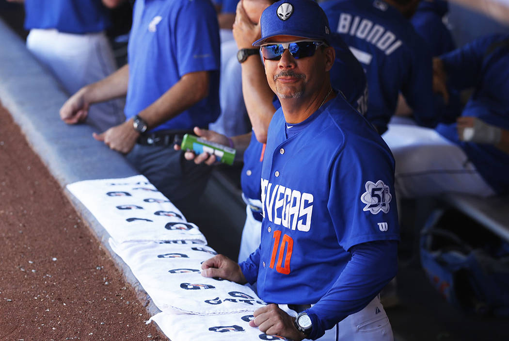 Las Vegas 51s' hitting coach Joel Chimelis watches his team play against the Albuquerque Isotopes at Cashman Field in Las Vegas on Sunday, May 13, 2018. (Las Vegas Review-Journal)