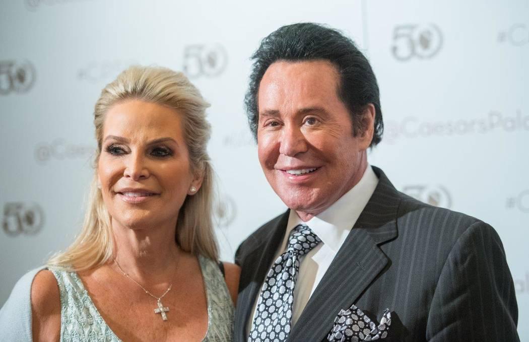 Bally's headliner Wayne Newton and his wife, Kathleen, arrive at Caesars Palace's 50th anniversary celebration Saturday, Aug. 6, 2016, in Las Vegas. (Tom Donoghue)