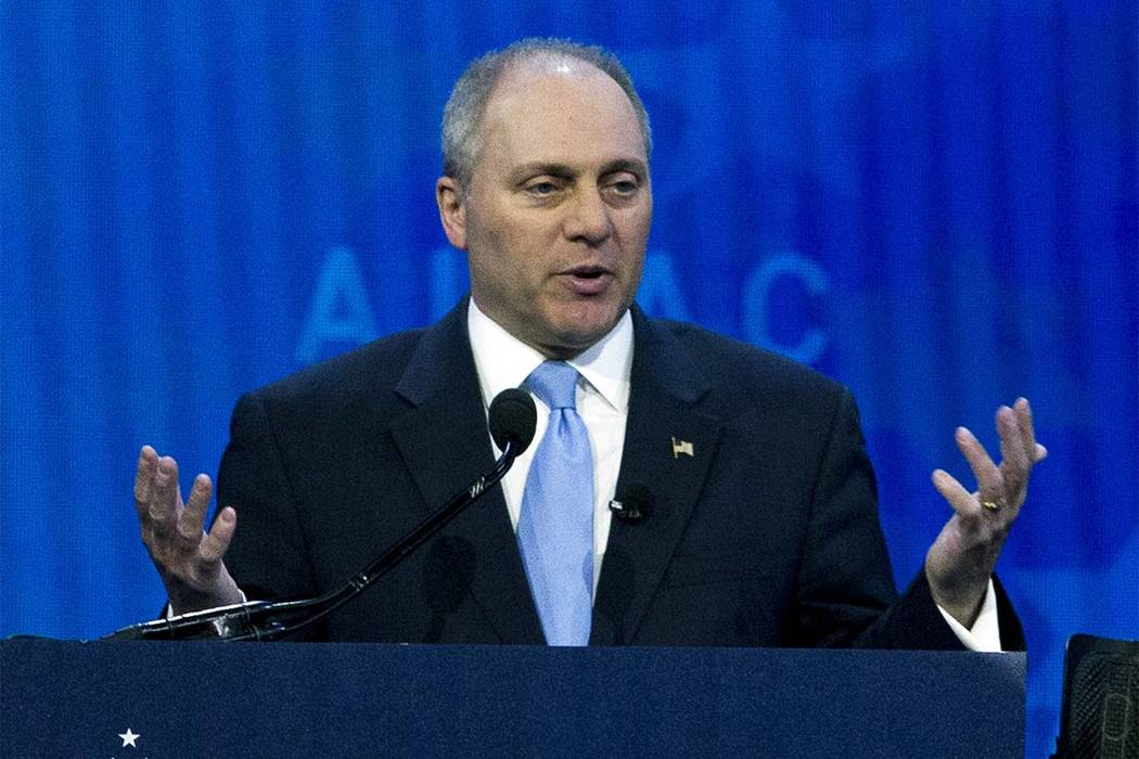 In this March 6, 2018 file photo, House Republican Whip Steve Scalise speaks at the 2018 American Israel Public Affairs Committee (AIPAC) policy conference in Washington. (Jose Luis Magana, AP file)