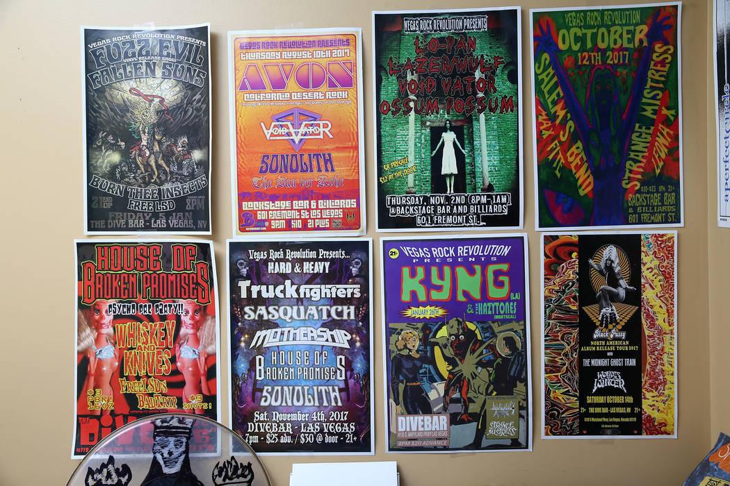 Show posters inside the Las Vegas home of John Gist, CEO and event producer for Vegas Rock Revolution, Thursday, June 21, 2018. Erik Verduzco Las Vegas Review-Journal @Erik_Verduzco