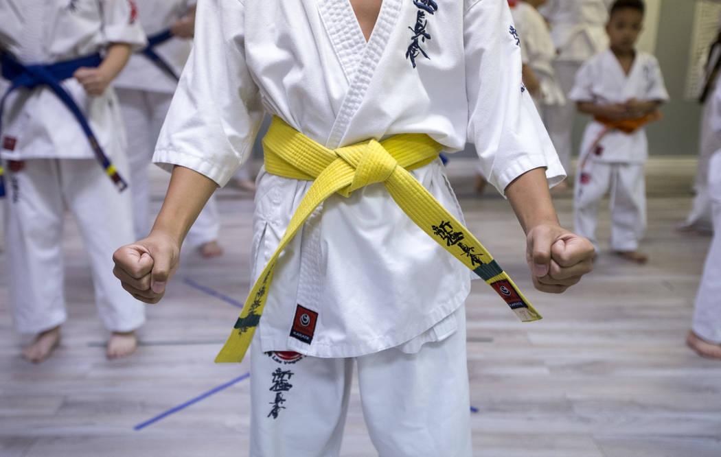 Jaiden Velasquez takes part in karate practice at Shinkyokushinkai Las Vegas on Monday, June 11, 2018. Richard Brian Las Vegas Review-Journal @vegasphotograph