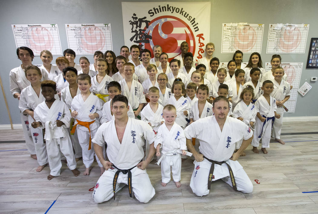 Martial arts instructor Sempai Leo Liuzza, front left, poses with his students following a karate practice at Shinkyokushinkai Las Vegas on Monday, June 11, 2018. Richard Brian Las Vegas Review-Jo ...