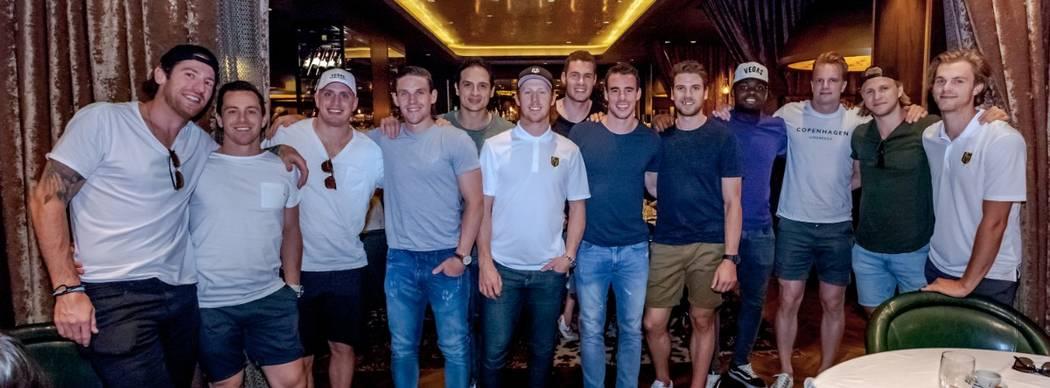 Members of the Vegas Golden Knights are shown at Andiamo Italian Steakhouse, from left; James Neal, Jonathan Marchessault, Nate Schmidt, Eric Haula, Luca Sbisa, Cody Eakin, Brayden McNabb, Reilly ...