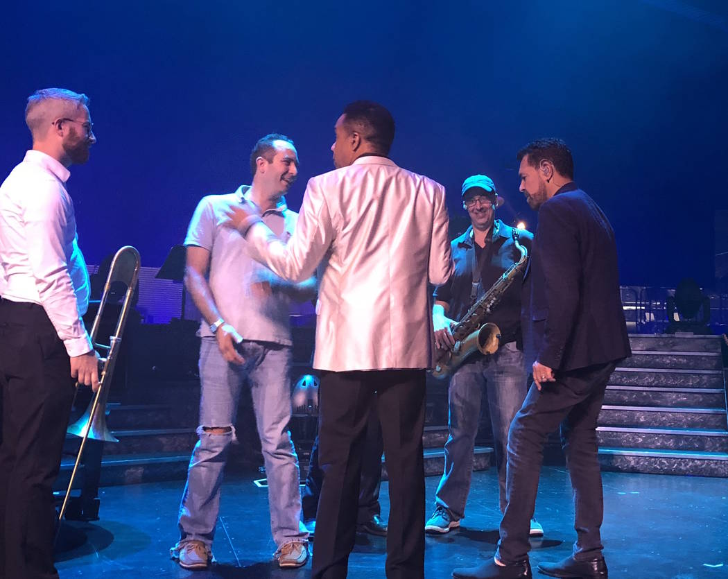 """Earl Turner and Clint Holmes are shown with musicians Andrew Boostrom, Christian Tamburr, and Glen Berger during sound check/rehearsal for """"Soundtrack"""" at the Westgate's International Theater, Th ..."""