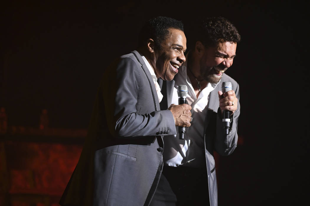 """Earl Turner and Clint Holmes perform their show """"Soundtrack"""" at the Westgate's International Theater, Thursday, June 14, 2018. Holmes and Turner filled in when Barry Manilow, who was sch ..."""