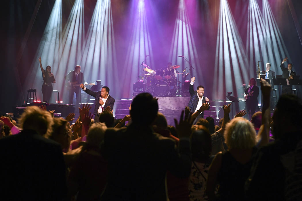 """Earl Turner and Clint Holmes perform their show """"Soundtrack"""" at the Westgate's International Theater, Thursday, June 14, 2018. Holmes and Turner filled in when Barry Manilow, who was scheduled to ..."""