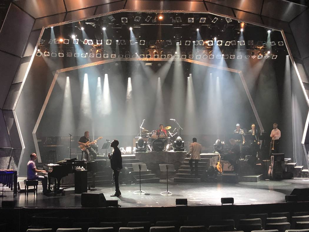 """Earl Turner and Clint Holmes are shown during sound check/rehearsal for """"Soundtrack"""" at the Westgate's International Theater, Thursday, June 14, 2018. Holmes and Turner filled in when Barry Manilo ..."""