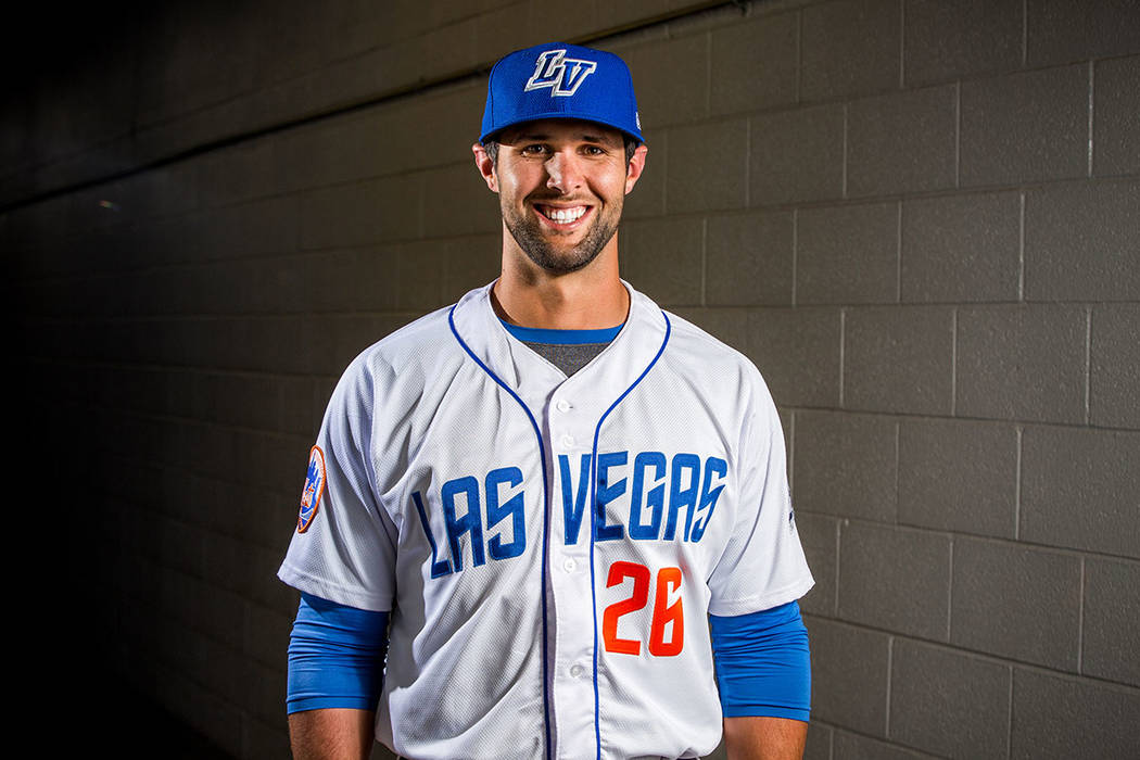 51s catcher Colton Plaia during the 51s media day at Cashman Field in Las Vegas on Tuesday, April 3, 2018. Patrick Connolly Las Vegas Review-Journal @PConnPie