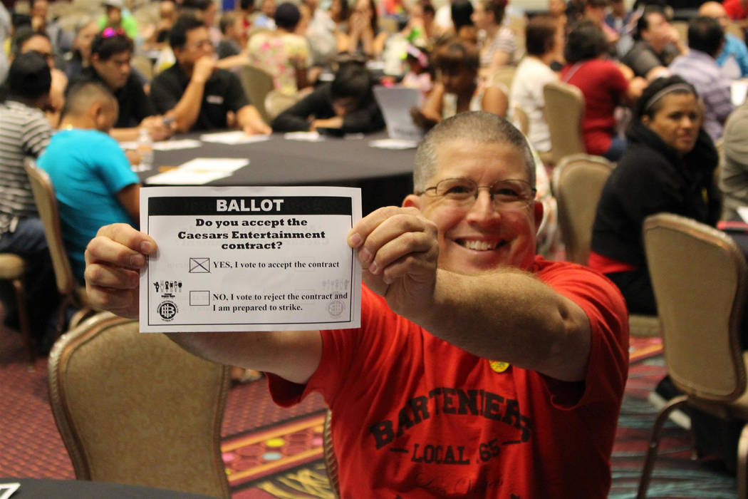 Brent Greenhalgh, bartender at the Flamingo, a Caesars Entertainment Corporation casino resort, voted Thursday, June 14, 2018, to ratify his new 5-year union contract. Culinary Union photo
